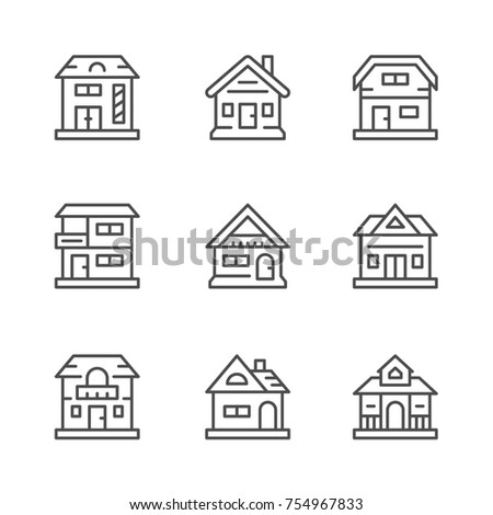 Set line icons of houses isolated on white