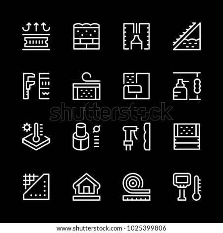 Set line icons of insulation isolated on black
