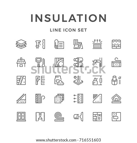 Set line icons of insulation isolated on white