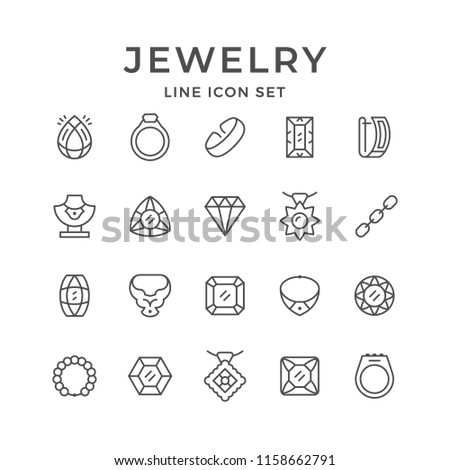 Set line icons of jewelry isolated on white