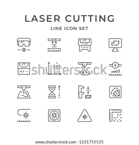 Set line icons of laser cutting isolated on white