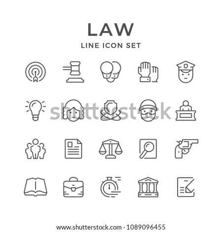 Set line icons of law isolated on white