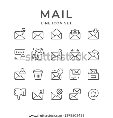 Set line icons of mail isolated on white