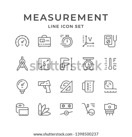 Set line icons of measurement isolated on white