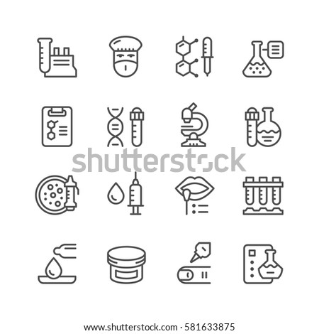 Set line icons of medical analysis isolated on white