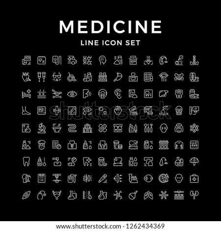 Set line icons of medicine isolated on black