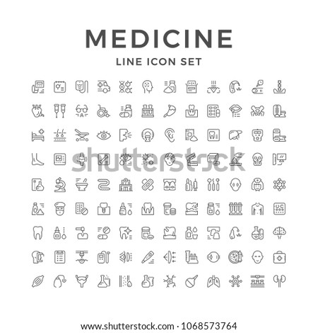 Set line icons of medicine isolated on white