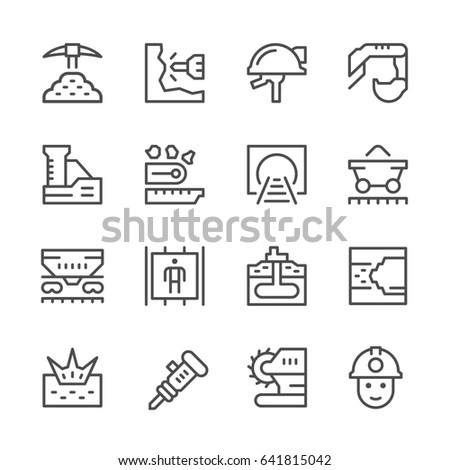 Set line icons of mining isolated on white