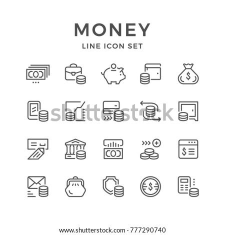Set line icons of money isolated on white