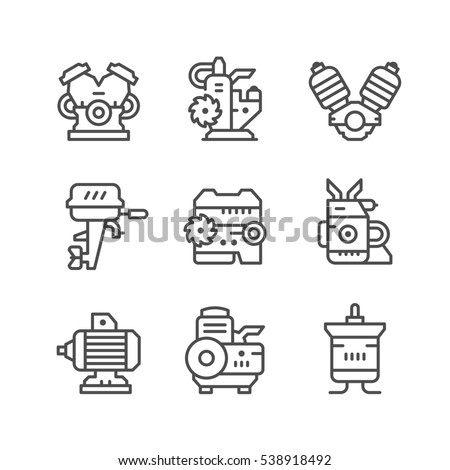 Set line icons of motor and engine isolated on white