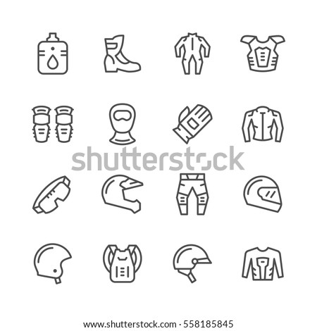 Set line icons of motorcycle equipment isolated on white