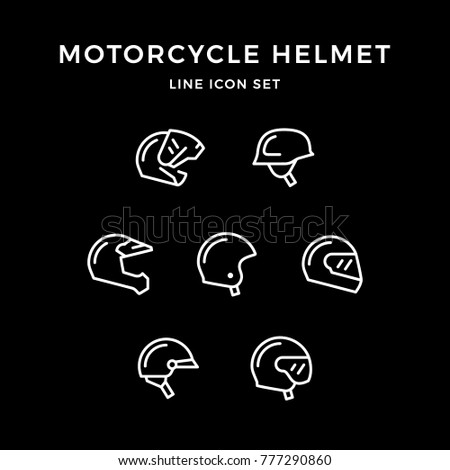 Set line icons of motorcycle helmet isolated on black
