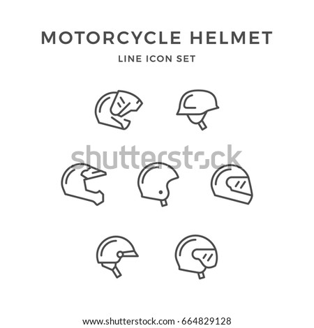 Set line icons of motorcycle helmet isolated on white