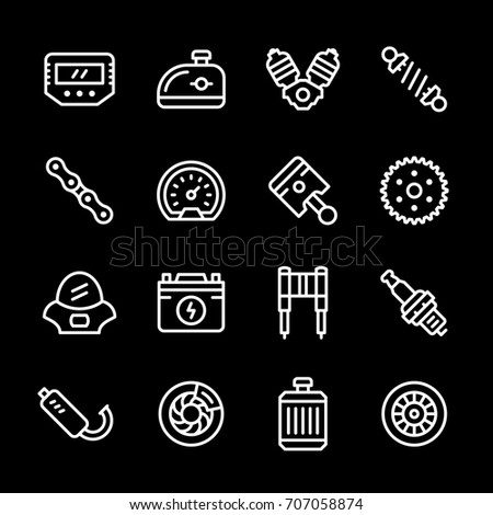 Set line icons of motorcycle parts isolated on black