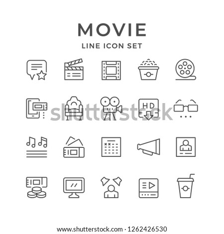 Set line icons of movie isolated on white