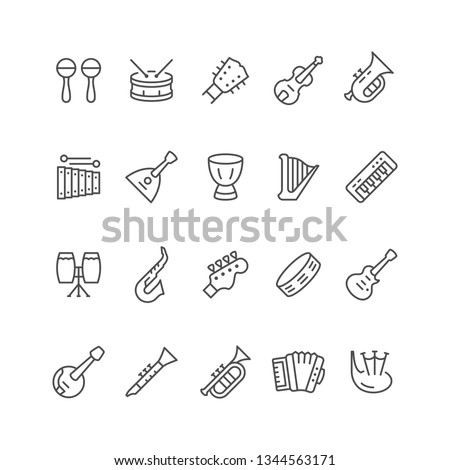 Set line icons of music instruments isolated on white