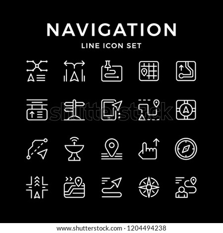 Set line icons of navigation isolated on black
