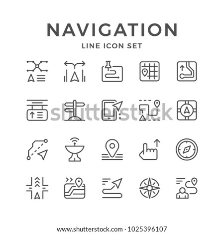 Set line icons of navigation isolated on white