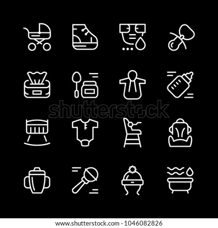 Set line icons of newborn isolated on black