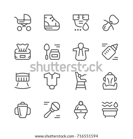Set line icons of newborn isolated on white