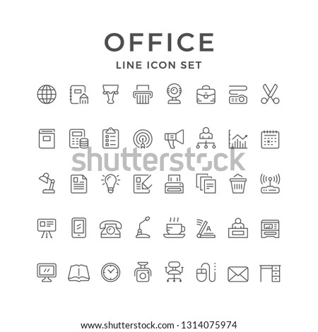 Set line icons of office isolated on white