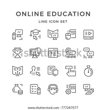 Set line icons of online education isolated on white