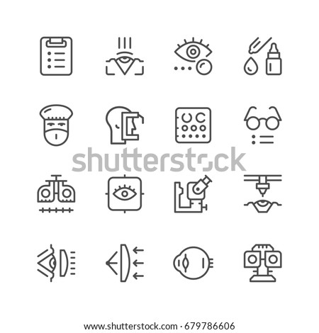 Set line icons of ophthalmology isolated on white