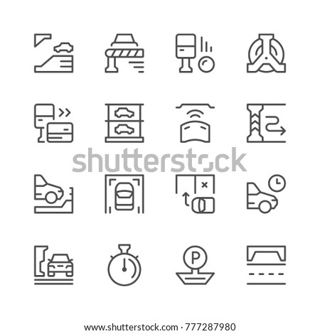 Set line icons of parking isolated on white