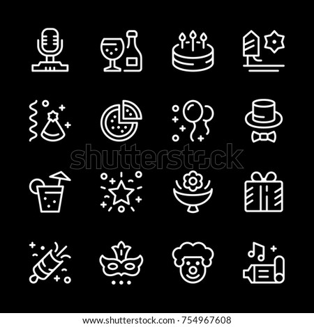 Set line icons of party isolated on black