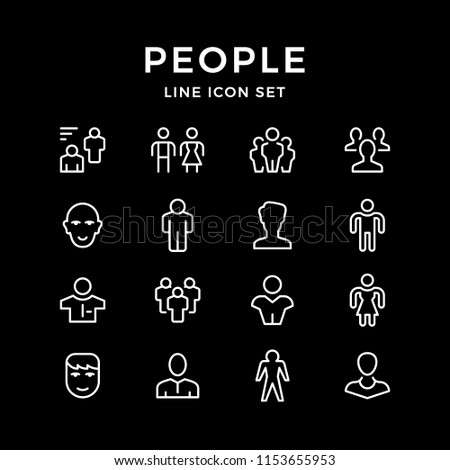 Set line icons of people isolated on black