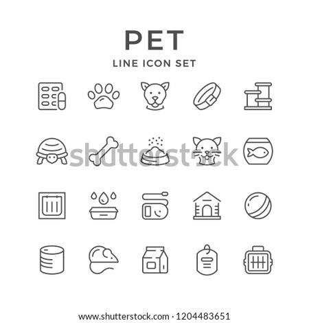 Set line icons of pet isolated on white