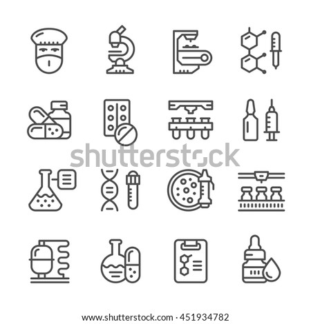 Set line icons of pharmaceutical industry isolated on white