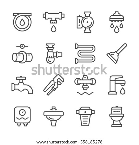 Set line icons of plumbing isolated on white