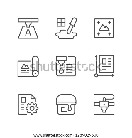 Set line icons of print isolated on white