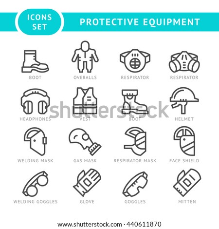 Set line icons of protecting equipment isolated on white
