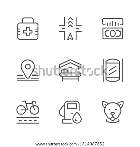 Set line icons of public navigation isolated on white