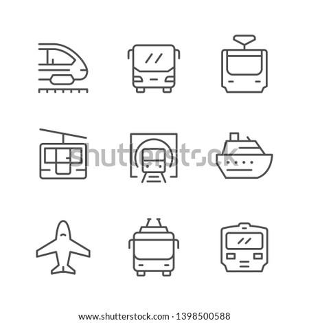 Set line icons of public transport isolated on white