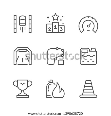 Set line icons of racing isolated on white