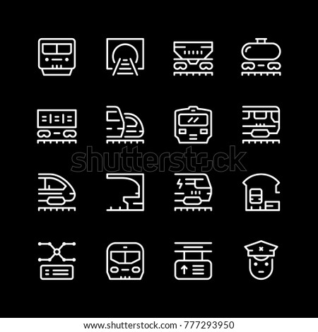 Set line icons of railroad isolated on black