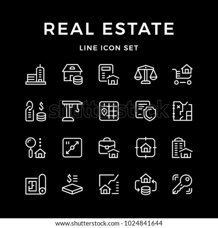 Set line icons of real estate isolated on black