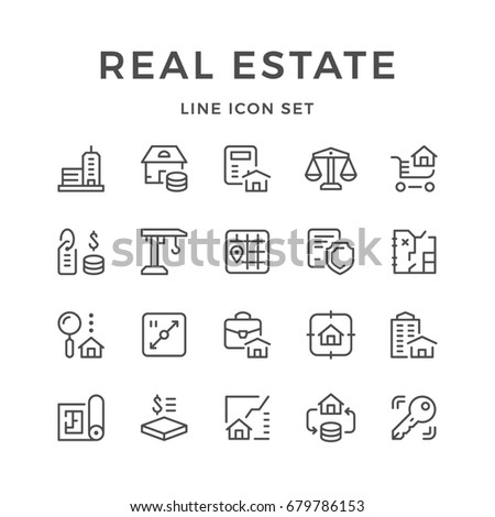Set line icons of real estate isolated on white