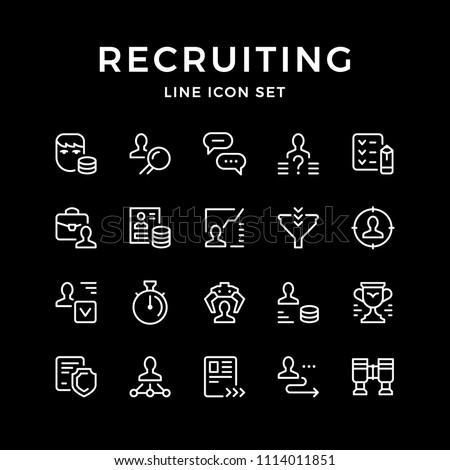 Set line icons of recruiting isolated on black