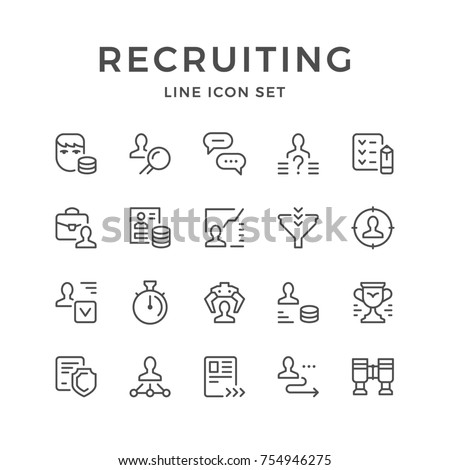 Set line icons of recruiting isolated on white