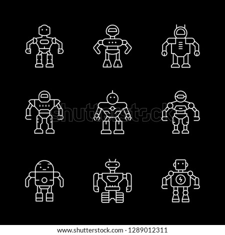 Set line icons of robot isolated on black