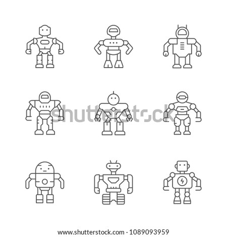 Set line icons of robot isolated on white