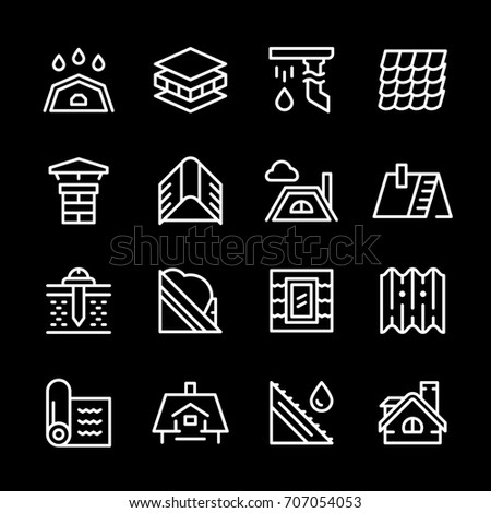 Set line icons of roof isolated on black