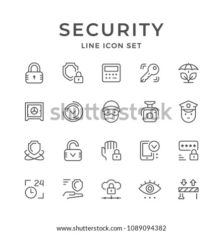 Set line icons of security isolated on white