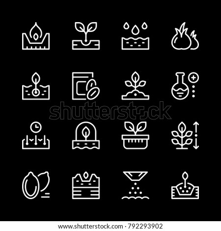 Set line icons of seed and seedling isolated on black. Vector illustration