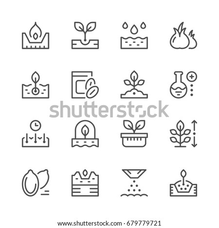 Set line icons of seed and seedling isolated on white