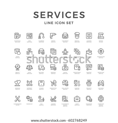 Set line icons of service isolated on white